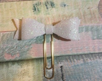 White Glitter Foam Bow Paperclip