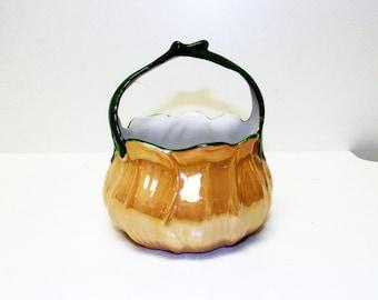 Vintage P.A.L.T. Czecho-Slovakia Porcelain Basket w/Handle Lusterware Finish