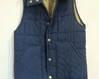 A Mens,Vintage 80's,Quilted Blue RANCHER Vest By BIG SMITH.S