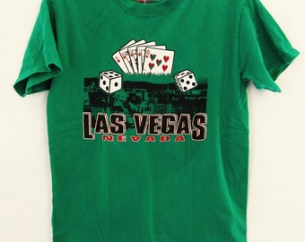 Marked Down 30%@@A Vintage 90's Green Short Sleeve LAS VEGAS T shirt By Hanes.XS