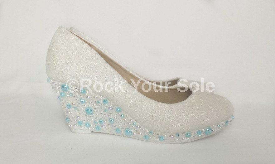 white glitter bridal shoes white and blue pearls by