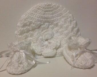Baby Christening Set White Crochet Baby set White crochet hat and Booties