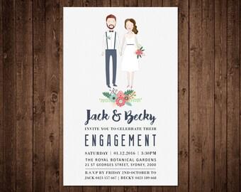 Engagement Invitation - Custom Illustrated Portrait