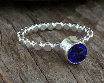 Tanzanite Stacking Ring, Gemstone Ring, Bezel Set Ring, Birthstone Ring