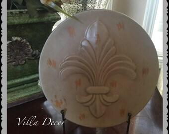 Fleur De Lis Ceramic Decorative Plate With Distress Finish includes stand