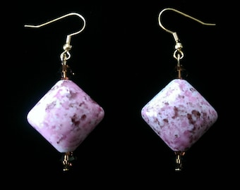 Pink, White, and Brown Marbled Dangle Earrings