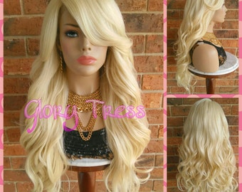 ON SALE // Long Glamorous Curly Lace Front Wig, Long Loose Curly Wig, Platinum Blonde Wig, High Density // PERFECTED (Free Shipping)