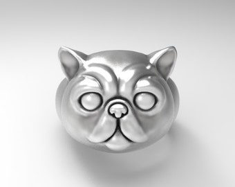 Exotic Shorthair cat ring Sterling Silver .925