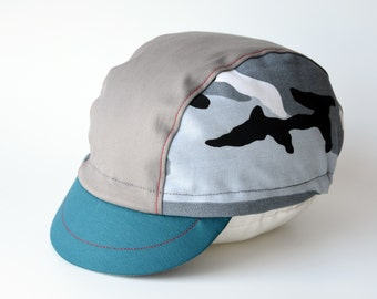 Camo cycling cap, Cotton cycle hat, Cycling gift for him, Mens bicycle cap, Choose your size