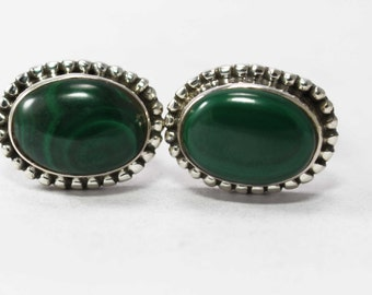 Malachite Cufflinks 925 Sterling Silver Green Handmade Jewellery by AmoreIndia C301