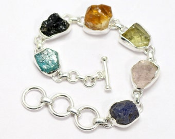 Aquamarine Topaz Quadzs Iolite Sterling Silver Hand made Bracelet By Amore India B436