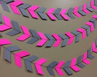 Hot Pink & grey Chevron / Arrow Garland, chevron banner, chevron garland, paper garland, party decor, pink and grey, arrow/chevron banner