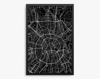 Moscow Street Map, Moscow Russia, Modern Art Print,Moscow Gift Idea, Moscow Decor, Russian Decor, Office Decor, Home Decor, Gift Idea