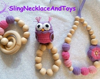 Nursing necklace Teething necklace Breastfeeding Rattle Owl Babywearing necklace Owl Necklace for mom Baby necklace Crochet necklace Natural