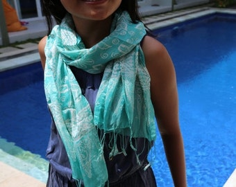 SUMMER SALE FREE Shipping - Blue scarf, Indonesia batik scarf, Silk scarf, Balinese scarf, batik scarf, Batik silk scarf, silk scarf, gift i