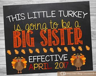 Thanksgiving Big Sister Pregnancy Announcement / Printable Chalkboard / Thanksgiving Pregnancy / Little Turkey / Digital File
