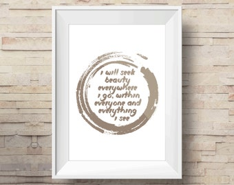ZEN Daily Affirmations Print | Printable Art scalable to ALL SIZES