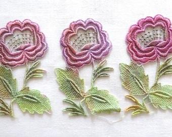 Hand dyed Rose with Stem Applique Venise Lace 6040D