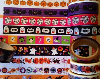 24 inches Halloween washi Tape Samples, ghost washi tape, pumpkin washi tape, bats washi tape, skeleton, black cat ,Halloween washi tape