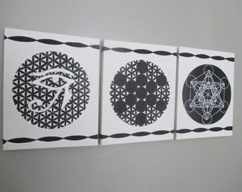 Sacred Geometry art work on canvass - Set of 3