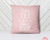Rain, Tea and a Good Book Pastel Flowers - Throw Pillow Case, Pillow Cover, Home Decor - TPC1006