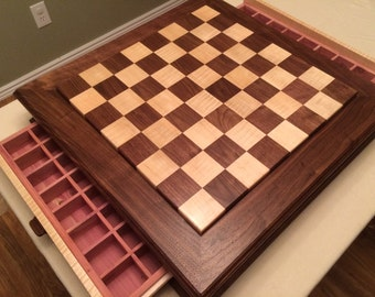 Maple and Walnut Chess  Board