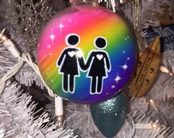 Custom Airbrushed Pride Christmas Ornament