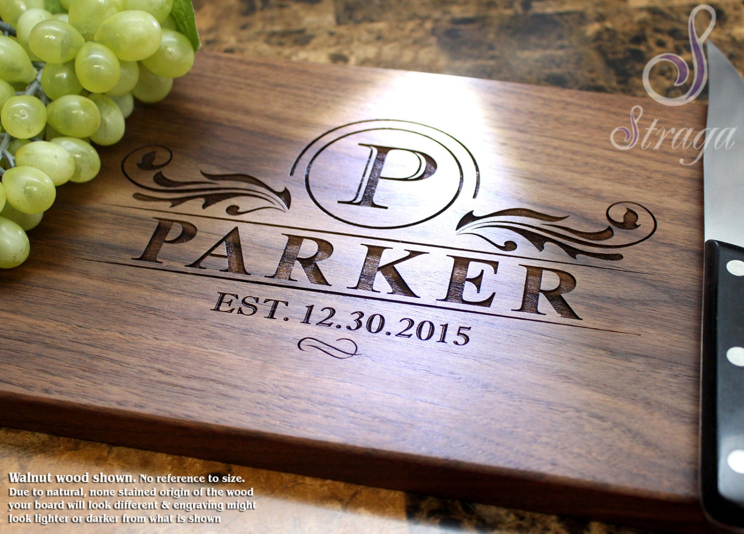 Engraving Wedding Gifts: Personalized Engraved Cutting Board Wedding Gift