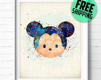 FREE SHIPPING Everywhere - Disney - Mickey Mouse - Watercolor Art Print Poster - Wall Art - Nursery Home Decor - Gift - Burlap Print, NA378