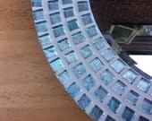Mosaic Bathroom Wall Mirror   Blue Aqua Turquoise  30cm  Round