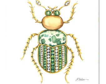 Bug Brooch Watercolor Rendering in Yellow Gold with Diamonds, Emeralds and Jasper printed on Canvas