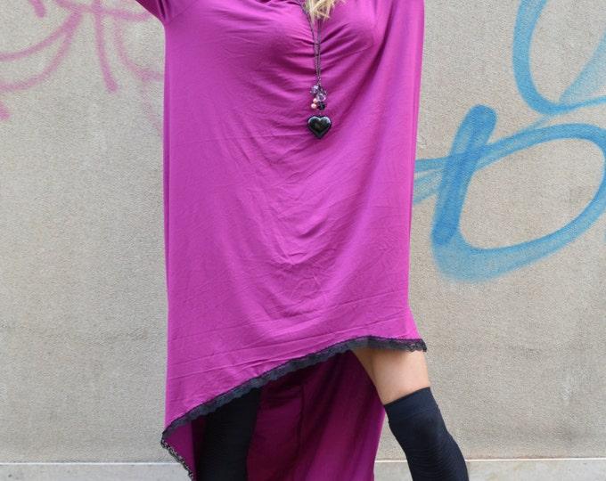 Maxi Purple Dress Extravarant Soft Viscose, Asymmetric Tunic, Loose Casual Dress, Sexy Summer Tunic by SSDfashion