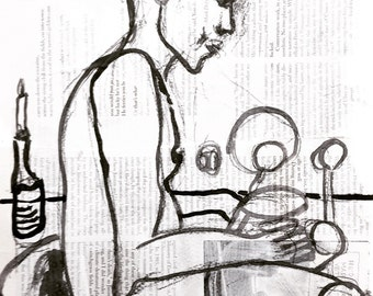 "Erotic painting, sketch, collage: ""Frank thinking while showering."" Original artwork, Berlin, 2016"