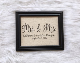 Mrs. & Mrs. Personalized Wedding Gift, Cotton Anniversary Gift, Housewarming, Lesbian Wedding, 2nd Anniversary, Burlap, Linen Fabric P
