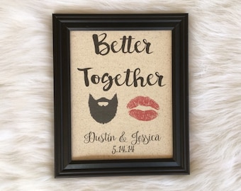 Cotton Anniversary Gift, Second Anniversary, Better Together, Beard and Lipstick, Personalized, Fabric Print, Rustic Home Decor, Count