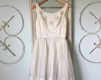 Vintage White 50's Party/Wedding Dress with Blue Detail