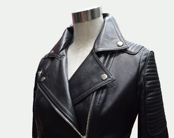 Women's Biker Jacket - Black Jacket - Short Jacket - Women Jacket - Women Leather Jacket