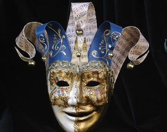 Joker Mask - Jester Masquerade Mask - Full Face Venetian Mask Gold and Green/Gold and Blue -  home decor, interior design mask F27/F28