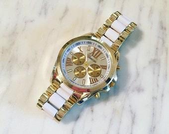 SALE Gold & White Wrist Watch