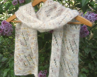 Lace Scarf   Lightweight Scarf   Knit Scarf   Handmade Scarf   Silk   Cream Scarf   Women's Scarves   Women's Accessories   Gifts