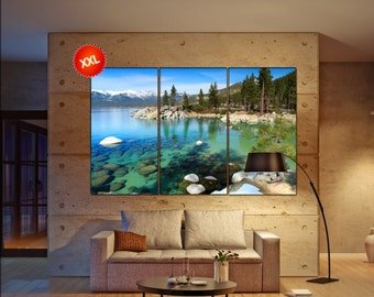 Lake Tahoe large canvas wall art decor print Lake Tahoe prints large prints living room wall art Office Decor