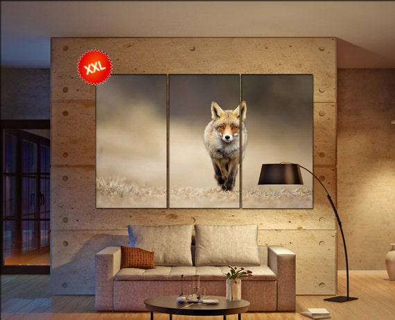 Red fox  canvas wall art Red fox wall decoration Red fox canvas wall art art Red fox large canvas wall art  wall decor