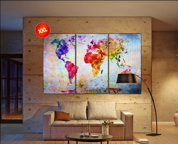 world map on canvas  print on canvas Large world map on canvas art artwork world map on canvas Print home office decoration