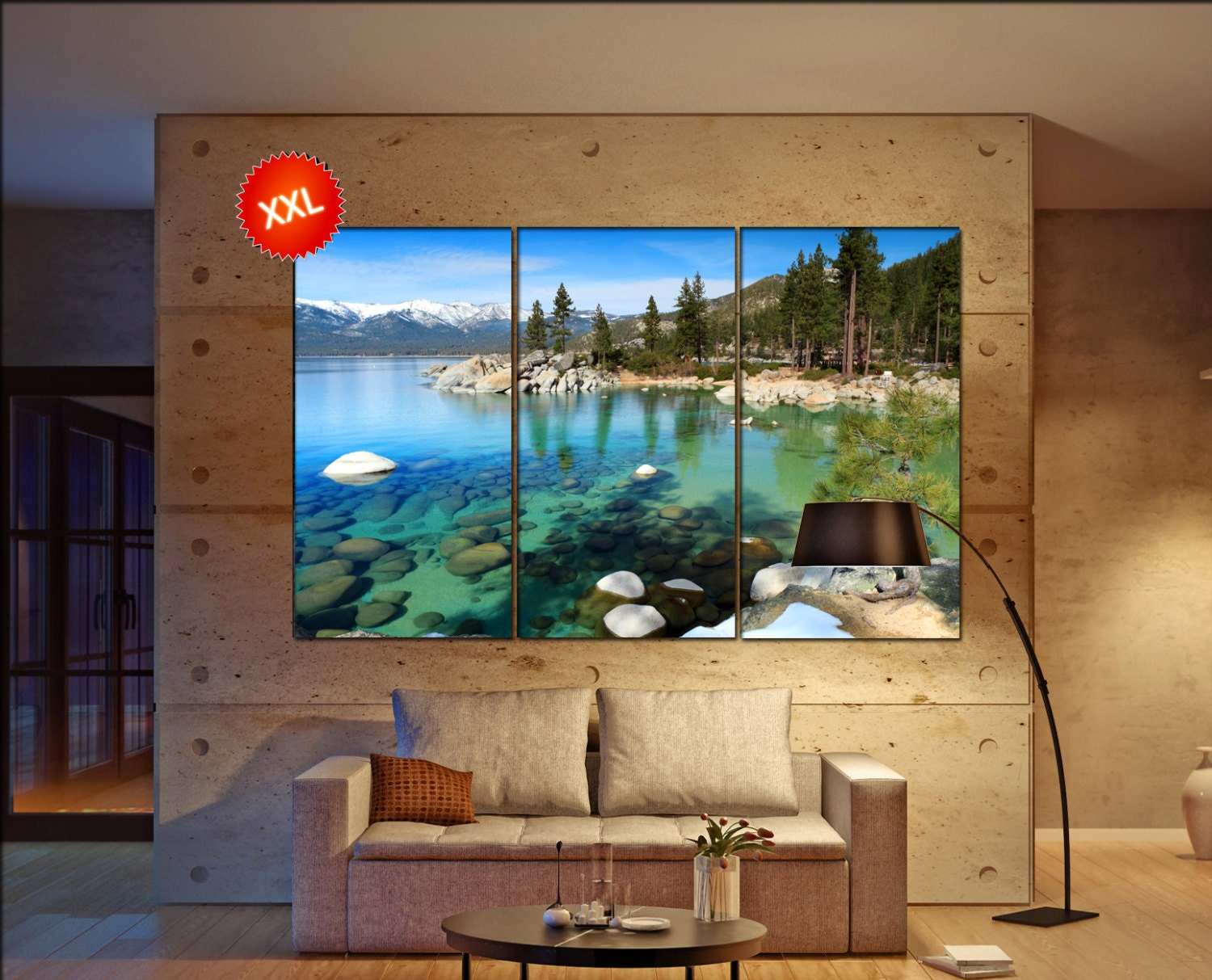 Lake Tahoe Large Canvas Wall Art Decor Print Lake Tahoe Prints Large Prints L