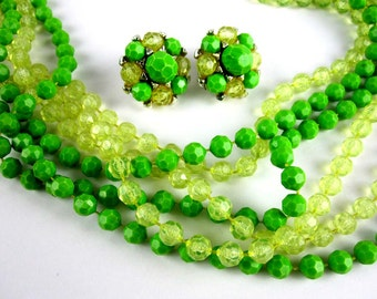 Green Bead Necklace Earring Set , Lime Muti Strand Plastic, 1950s