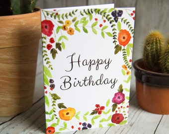 SALE - Happy Birthday - Floral Greetings Card
