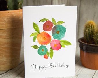 SALE - Happy Birthday - Birthday Card - Floral Greetings Card