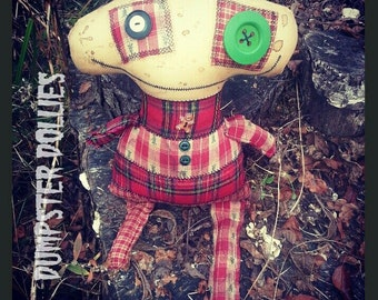 Dumpster Dollies, OOAK Art Doll, Christmas Primitive Themed Voodoo Doll, Horror Doll