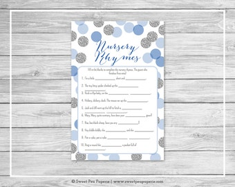 Blue and Silver Baby Shower Nursery Rhyme Game - Printable Baby Shower Nursery Rhyme Game - Blue and Silver Glitter Baby Shower - SP124