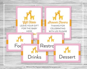 Giraffe Baby Shower Table Signs - Printable Baby Shower Table Signs - Pink Giraffe Baby Shower - Baby Shower Signs - EDITABLE - SP129